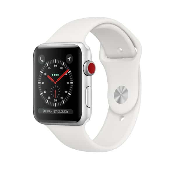 Apple Watch Series 3 Silver Aluminium Case with White Sport Band