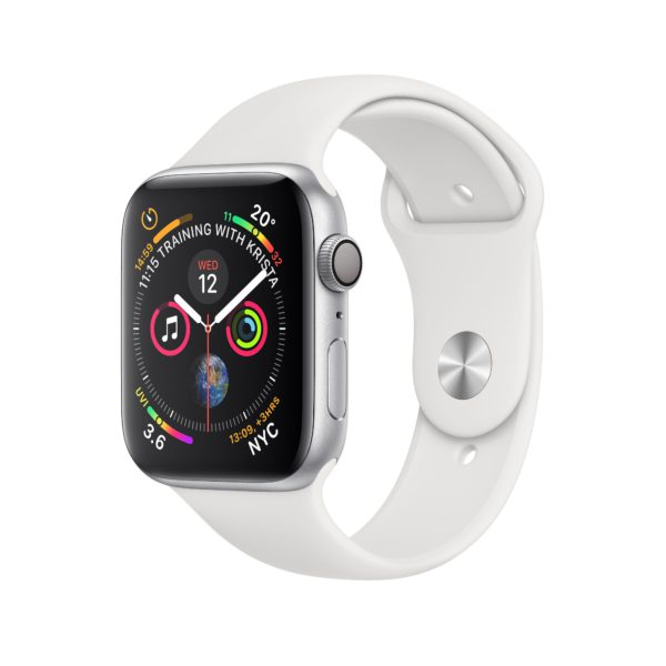 Apple Watch Series 4 Silver Aluminium Case with White Sport Band
