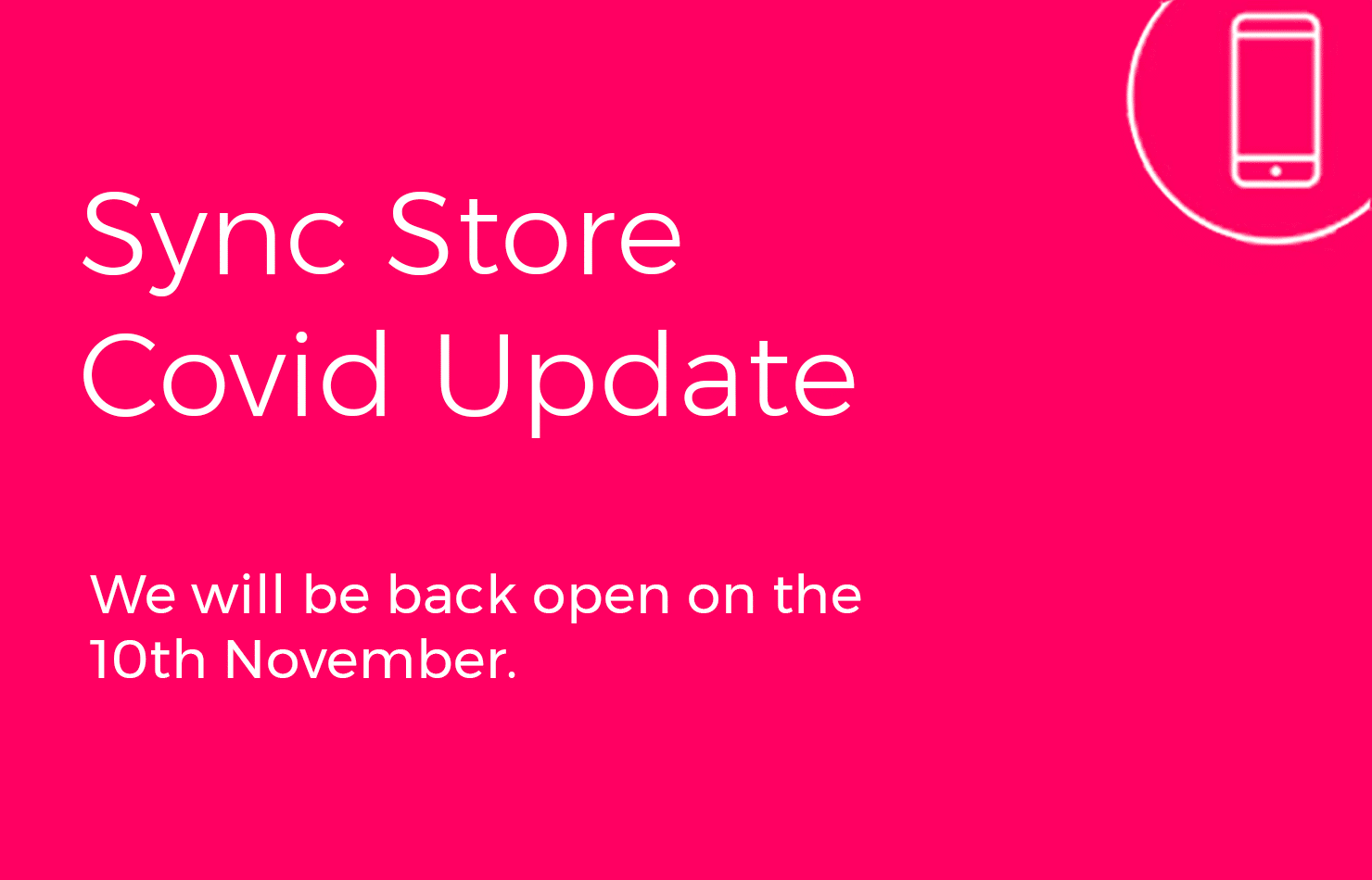 November Lockdown Update, Sync